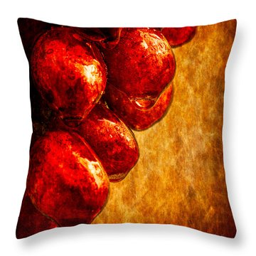 Wet Grapes Three Throw Pillow by Bob Orsillo
