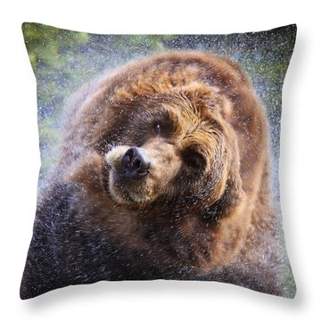 Wet Griz Throw Pillow by Steve McKinzie