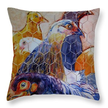 Wet Hens Throw Pillow by Kris Parins