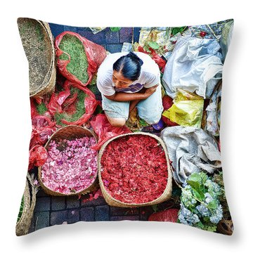 Wet Market In Ubud Throw Pillow