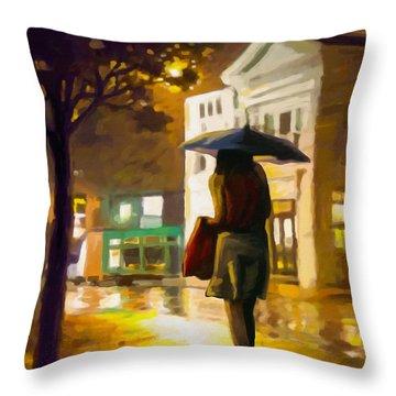 Wet Night Throw Pillow