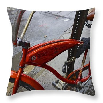 Wet Orange Bike   Nyc Throw Pillow by Joan Reese