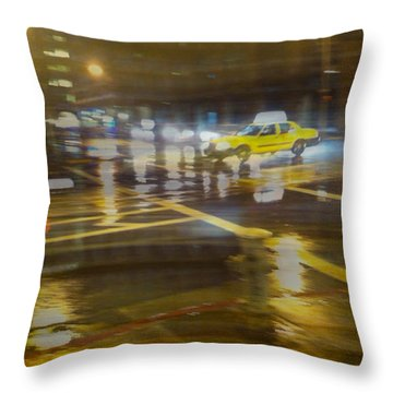 Throw Pillow featuring the photograph Wet Pavement by Alex Lapidus