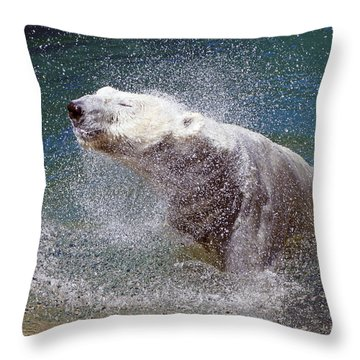 Wet Polar Bear Throw Pillow