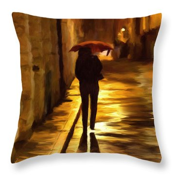 Wet Rainy Night Throw Pillow