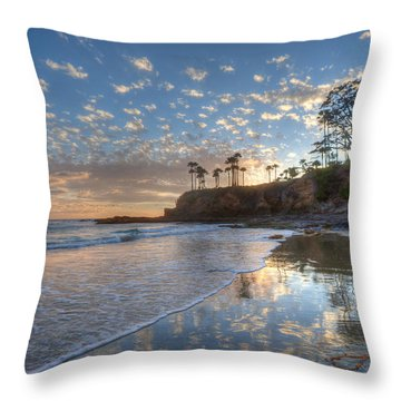 Wet Sand Reflections Laguna Beach Throw Pillow