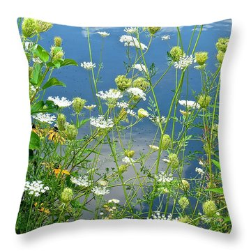 Wetland Wildflowers Throw Pillow by Rita Mueller