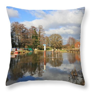 Wey Canal Surrey England Uk Throw Pillow