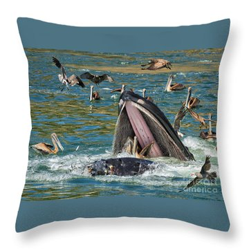 Whale Almost Eating A Pelican Throw Pillow by Alice Cahill