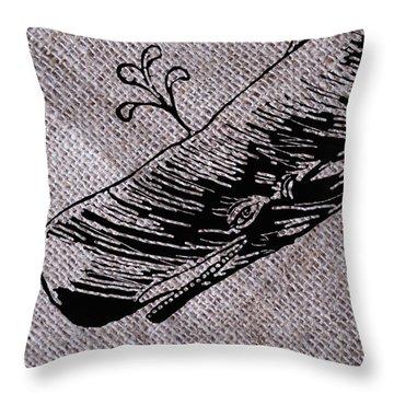Whale On Burlap Throw Pillow