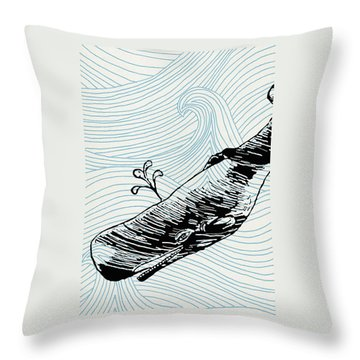 Whale On Wave Paper Throw Pillow