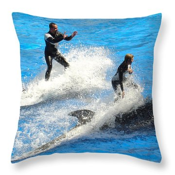 Whale Racing Throw Pillow