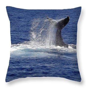 Throw Pillow featuring the photograph Whale Tale Splash by Penny Lisowski