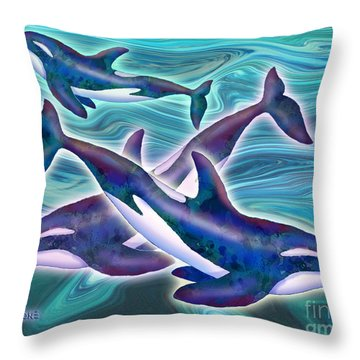 Throw Pillow featuring the mixed media Whale Whimsey by Teresa Ascone