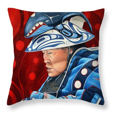 Whale Woman Throw Pillow by Joey Nash