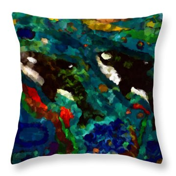 Whales At Sea - Orcas - Abstract Ink Painting Throw Pillow