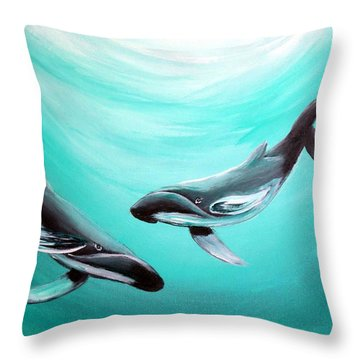Throw Pillow featuring the painting Whales by Bernadette Krupa