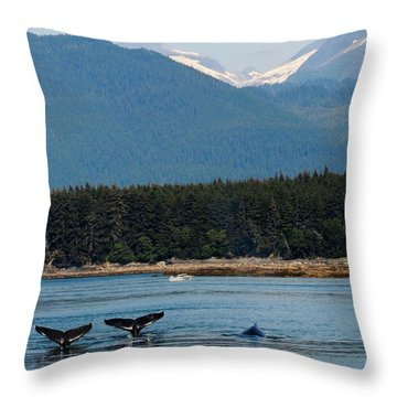 Whales In Alaska Throw Pillow