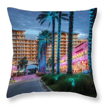 Throw Pillow featuring the photograph Wharf Blue Lighted Trees by Michael Thomas