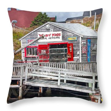 Wharf Hags Peggy's Cove Throw Pillow by Betsy Knapp