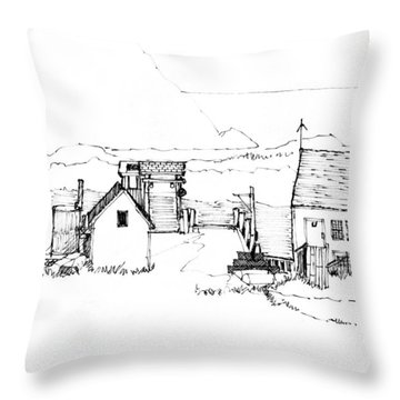Wharf Monhegan Island 1987 Throw Pillow