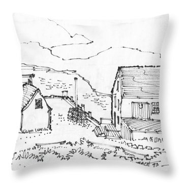 Wharf On Monhegan Island 1993 Throw Pillow