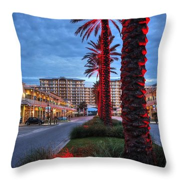 Throw Pillow featuring the digital art Wharf Red Lighted Trees by Michael Thomas