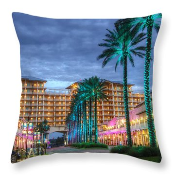 Throw Pillow featuring the digital art Wharf Turquoise Lighted  by Michael Thomas