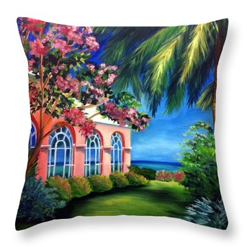 What A View - Barbados Royal Pavilion - Palm Restaurant Throw Pillow