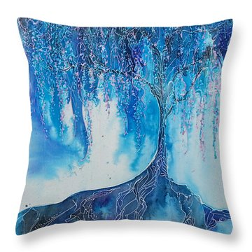 Throw Pillow featuring the painting What Dreams May Come by Christy  Freeman