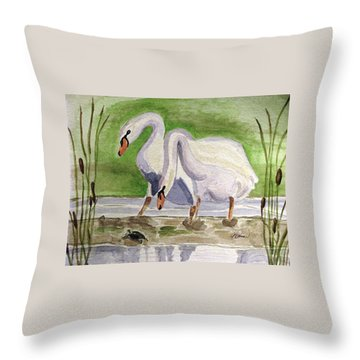 Throw Pillow featuring the painting What Is It by Angela Davies