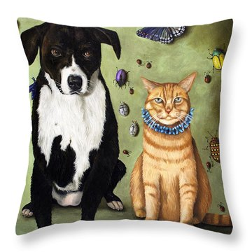 What's Bugging Luke And Molly Throw Pillow by Leah Saulnier The Painting Maniac