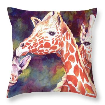 What's Up Dad - Giraffes Throw Pillow by Roxanne Tobaison
