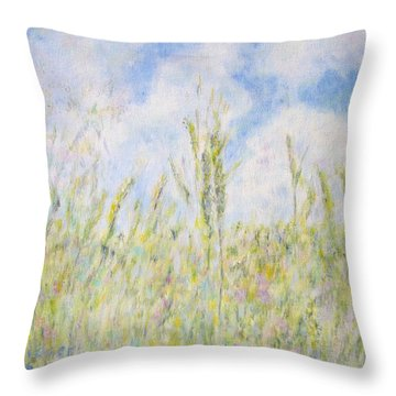 Wheat Field And Wildflowers Throw Pillow