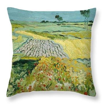 Wheatfields Near Auvers-sur-oise Throw Pillow by Vincent van Gogh