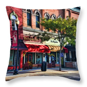 Wheaton Front Street Store Fronts Throw Pillow by Christopher Arndt