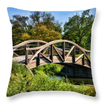 Wheaton Northside Park Bridge Throw Pillow by Christopher Arndt