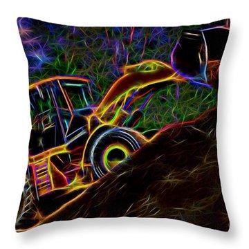 Wheel Loader Moving Dirt - Neon Throw Pillow