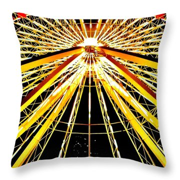 Wheel Of Light Throw Pillow by Benjamin Yeager