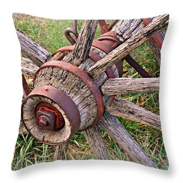 Wheel Of Old Throw Pillow by Marty Koch