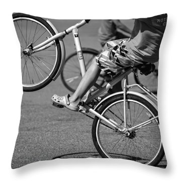 Throw Pillow featuring the photograph Wheelie Boys by Ari Salmela