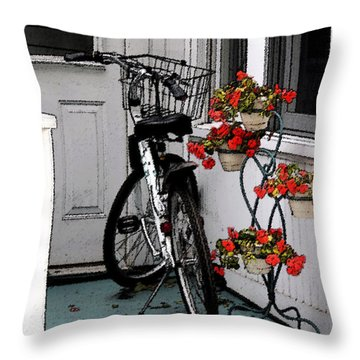 Wheels And Flowers Throw Pillow