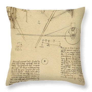 Wheels And Pins System Conceived For Making Smooth Motion Of Carts From Atlantic Codex Throw Pillow by Leonardo Da Vinci