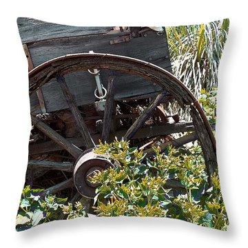 Wheels In The Garden Throw Pillow