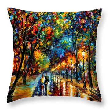 When Dreams Come True - Palette Knlfe Landscape Park Oil Painting On Canvas By Leonid Afremov Throw Pillow