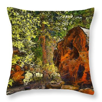 When Giants Fall Abstract Throw Pillow