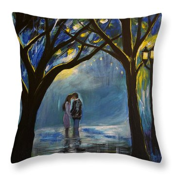 When I Fall In Love Throw Pillow by Leslie Allen