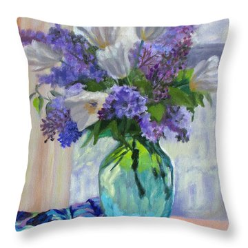 When Lilacs Bloomed Throw Pillow