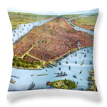 When New York Was Flat Throw Pillow by Georgia Fowler
