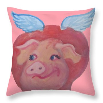 When Pigs Fly Throw Pillow by Cherie Sexsmith